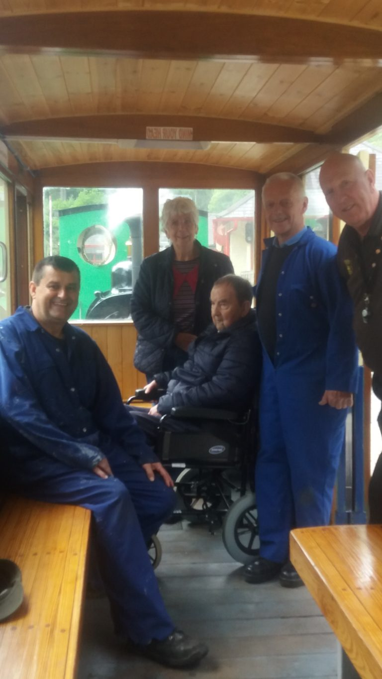 Founder Manager of Llanberis Lake Railway meets old colleagues and has a ride on the steam train